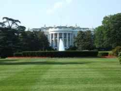 A view of the White House from the south lawn.