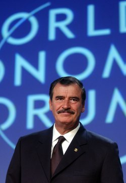 Former President of Mexico Vicente Fox speaks at the World Economic Forum Ann...