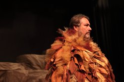 "David Heath plays the narrator in Lamb's ""The Book of the Dun Cow."" All of the costumes were made in house."