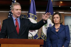 House Minority Leader Nancy Pelosi (D-CA) (R) and U.S. Rep. Chris Van Hollen (D-MD), Ranking Member on the House Budget Committee, address the media at the U. S. Capitol, on April 7, 2011 in Washington, DC. Pelosi spoke about the budget proposed by Republicans for fiscal year 2012.