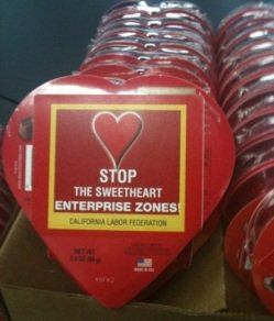 The Teamsters Union sent  California state legislators a Valentine with a message to end the sweetheart deal enjoyed by businesses in enterprise zones. Supporters of the EZs are proposing changes to the incentives instead.