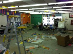 The classrooms at Calexico's Jefferson Elementary School are still the scene of earthquake damage. April 6, 2011.