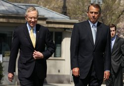 U.S. Senate Majority Leader Sen. Harry Reid (D-NV) (L) and Speaker of the House Rep. John Boehner (R-OH) (R) approach members of the media to make statements April 7, 2011 at the White House in Washington, DC.
