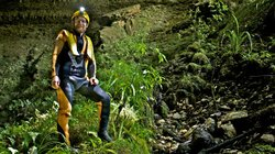 Wearing a dry suit, Richard Alley (pictured) and the ETOM crew explored the Nile River Caves in Paparoa National Park, near Charleston, on the South Island of New Zealand. Glowworms produce light without heat… a trick humans would love to emulate in order to avoid wasting energy.