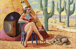 """""""Lady In Waiting"""" by Native American artist Robert Freeman and on view at the Mingei International Museum."""