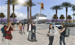 A rendering of Phase 1 of the North Embarcadero Visionary Plan. The project was given final approval by the Coastal Commission on April 13, 2011.