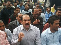 Textile workers at Shebin El-Kom protest on the grounds of the factory in Men...