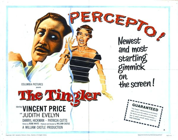 "One of the posters for ""The Tingler"" promoting ""Percepto."""