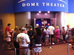 People line up to see the Reuben H. Fleet Science Center's IMAX film Tornado Alley, on April 28, 2011.