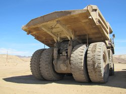 One of the giant trucks inside the Mesquite gold mine which transports the so...