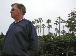 Al Fields stands near the point where he collapsed during last year's La Jolla Half Marathon.