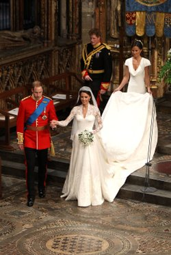 Prince William, Duke of Cambridge and his new bride Catherine, Duchess of Cambridge walk down the aisle followed by best man Prince Harry and Maid of Honour Pippa Middleton at the close of their wedding ceremony at Westminster Abbey on April 29, 2011 in London, England.