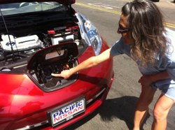 Donna Dipaolo shows where she has to plug in her Nissan Leaf so it becomes fu...
