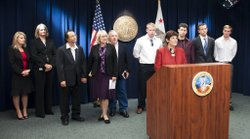 San Diego County District Attorney Bonnie Dumanis announces suit to nullify Nunez' commutation, May 11, 2011.