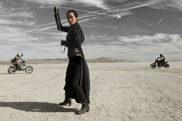 "Maggie Q uses some weaponry that Lopez had to create sound effects for in ""Priest."""