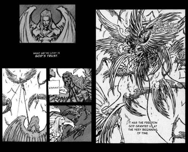 "A sample of the panel from Hyung Min-woo's ""Priest."" The style of the art is nothing like the animated sequence that open the film ""Priest."" Too bad."