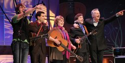 Anthony Snape, Vinny Raniolo, Pam Rose, Frank Vignola and Tommy Emmanuel, on stage at Balboa Theatre, San Diego, February 2011.