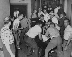 Mob violence against Freedom Riders at the Birmingham, Alabama Trailways bus ...