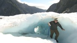 Richard Bangs hikes the Franz Joseph Glacier in southern New Zealand.