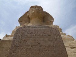 View of the Sphinx and the Dream Stela from below