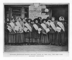 Striking shirtwaist makers selling copies of The Call, the New York socialist...