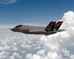 F-35 stealth fighter in flight.