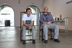 Wes Bruce and Tim Bruehl take the first hour-long shift of the sit-in at MCASD.