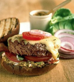 Promotional photo of an old-fashioned cheeseburger from