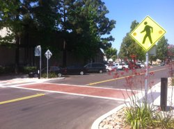 Crosswalks and other traffic-calming features have made Allison Avenue in La Mesa a good example of promoting pedestrian safety. May 24, 2011.