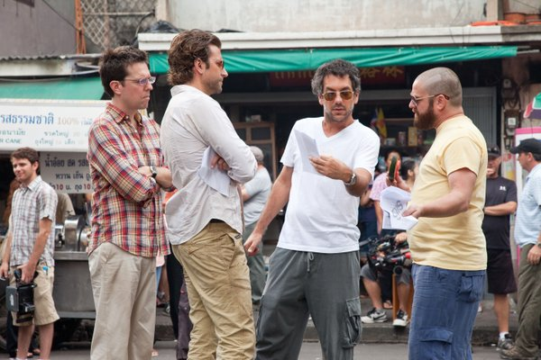 "Todd Phillips (center) on the set of ""The Hangover 2."""