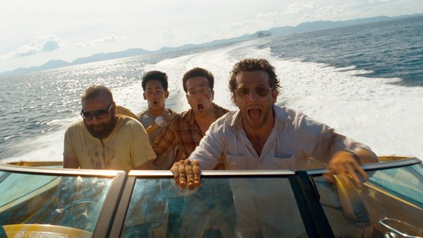 "Zach Galinfianakis, Masoin Lee, Ed Helms, and Bradley Cooper star in ""The Hangover 2."""