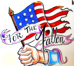 "Photo of a sample tattoo of a hand holding an American flag with the words ""For The Fallen."""