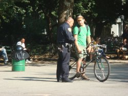 New York police are cracking down on cyclists that violated traffic laws. This biker got busted in Washington Square Park.