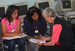 Students in Tijuana learn English from American volunteers.