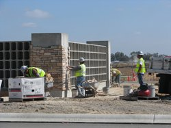 Construction on columbarian niches at the new National Cemetery at MCAS Miram...