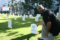 Maurice Martin is an Army veteran who's now a member of Veterans for Peace. The group created a symbolic graveyard showing names of all 67 San Diego county residents killed in Iraq or Afghanistan. Memorial Day, 2011.