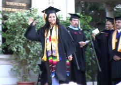 Marissa Gozalez, 24, walks across the stage at Spreckles Organ Pavilion durin...