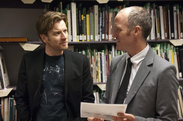 "Ewan McGregor with director-writer Mike Mills on the set of ""Beginners."""