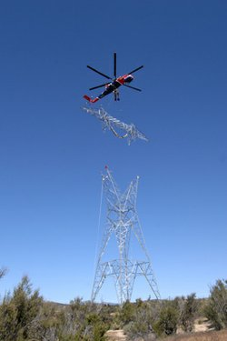 The first 142-foot Sunrise Powerlink transmission tower was completed March 9, near McCain Valley Road in Boulevard, just north of Interstate 8.