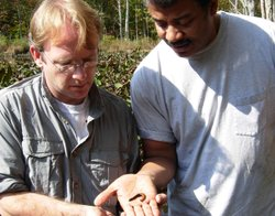 """""""NOVA scienceNOW"""" host Neil deGrasse Tyson (right) gets up close and personal with macrobdella decora - the North American medicinal leech - with leech expert Mark Siddall of the American Museum of Natural History."""