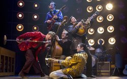 The Broadway cast of Million Dollar Quartet performs as part of