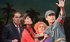 "James Maddalena (left) and Janis Kelly (second from right) as Richard and Pat Nixon with dancer Haruno Yamazaki and Kanji Segawa in Adam's ""Nixon In China."""