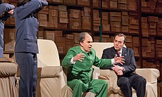 Robert Brubaker as Mao Tse-tung and James Maddalena as Richard Nixon in Adams...