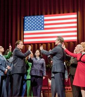 "James Maddalena as Richard Nixon and Russell Braun as Chou En-Lai at the banquet during Act 1 Scene 3 of John Adams's ""Nixon In China."" On the right is Janis Kelly as Pat Nixon and Richard Paul Fink as Henry Kissinger."