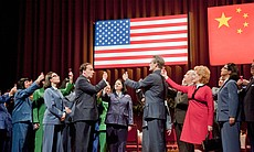James Maddalena as Richard Nixon and Russell Braun as Chou En-Lai at the banq...