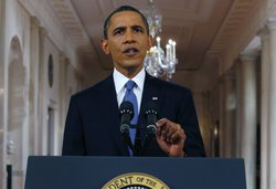 U.S. President Barack Obama delivers a televised address from the East Room o...
