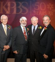 Left to right:  Hall of Fame Inductees John Witherspoon, Paul Marshall, and Paul Steen with KPBS General Manager, Tom Karlo at the 2010 Hall of Fame ceremony, September 2010.