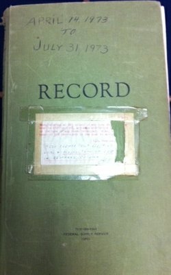 An old record book used by Border Patrol in San Diego between April 14, 1973 ...