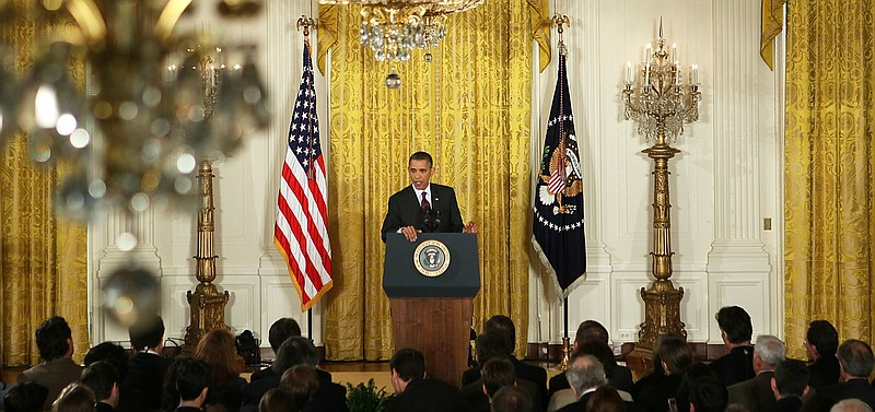 U.S. President Barack Obama speaks during a news conference in Washington, D....