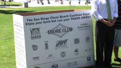 The San Diego Clean Beach Coalition, an alliance of local environmental organizations, community groups and government agencies, has put out 200 temporary trash and recycle bins at beaches for the holiday weekend, July 1, 2011.